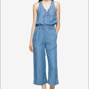 Calvin Klein cropped wide-leg chambray jumpsuit